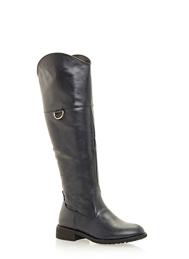 Riding Boots with Metal Ring,BLACK,large