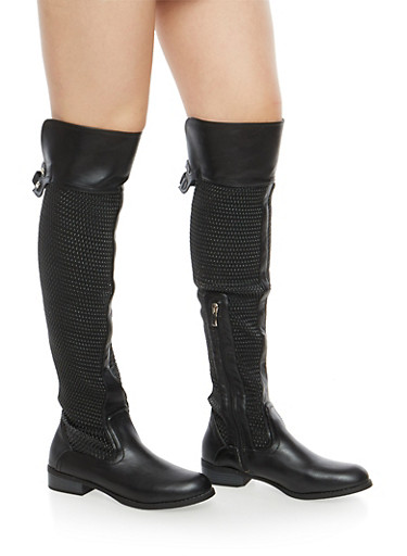 Textured Faux Leather Over the Knee Boots,BLACK,large
