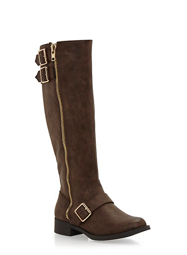 Zipper Knee High Boots with Buckle Straps,BROWN,large