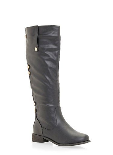 Leather Knee High Boots with Buttons,BLACK,large