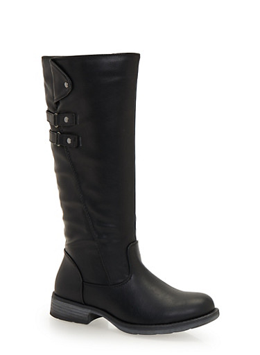 Faux Leather Boots with Double Straps,BLACK,large