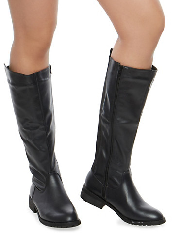 Faux Leather Elastic Back Riding Boots,BLACK,large