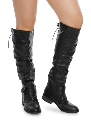 Knee High Ruched Riding Boots with Lace Up Detail,BLACK,large