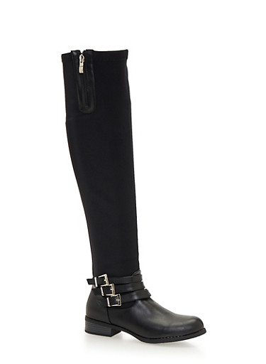 Stretch Over the Knee Boots with Buckles,BLACK,large