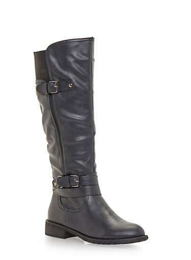 Flat Boots with Buckle Straps,BLACK,large