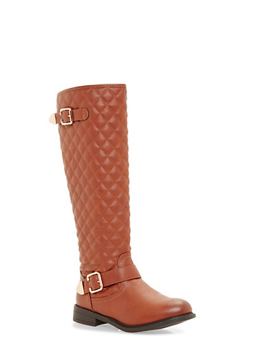 Quilted Flat Boots with Buckle Strap,COGNAC,large