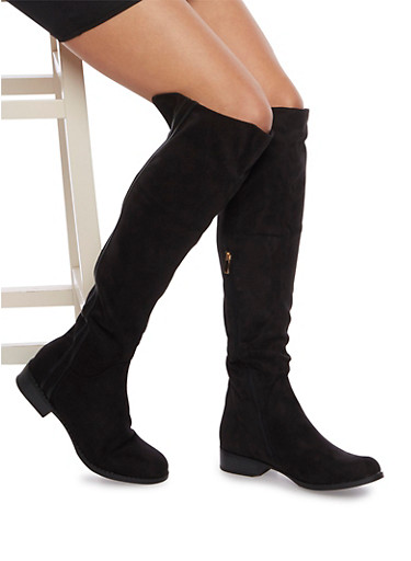 Over the Knee Boots with Striped Trim,BLACK F/S,large