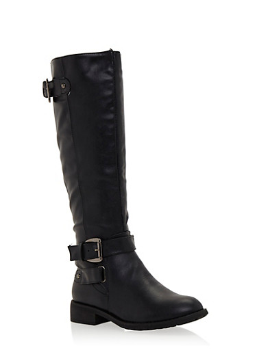 Knee High Buckle Boots,BLACK,large