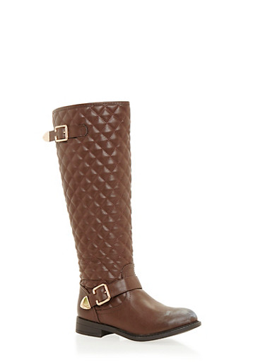 Quilted Flat Boots with Buckle Straps,BROWN,large