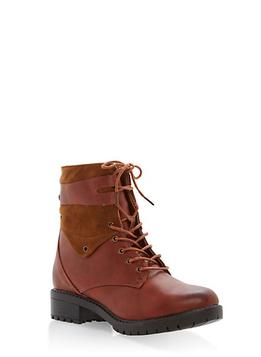 Faux Leather Side Zip Booties,COGNAC,large