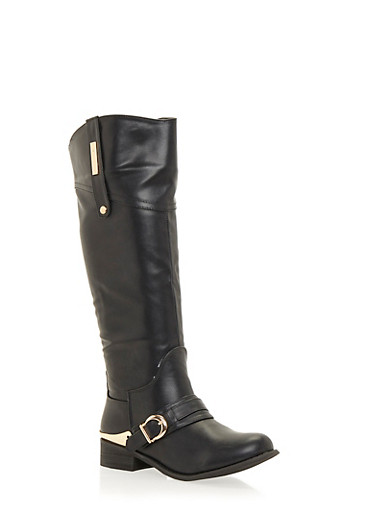 Tall Flat Boots with Metal Detail,BLACK,large