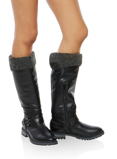 Fold Over Fleece Lined Boots,BLACK,large