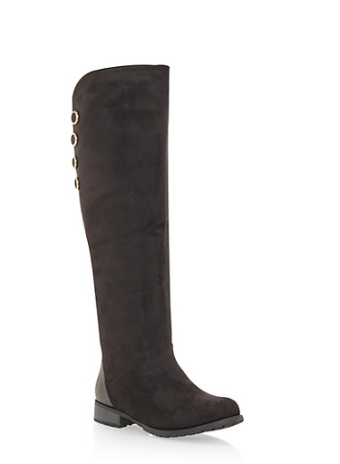 Over the Knee Boots with Button Accents,BLACK F/S,large