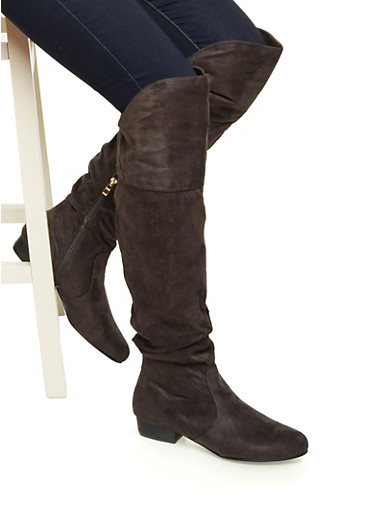 Over The Knee Slouchy Boot,GRAY F/S,large