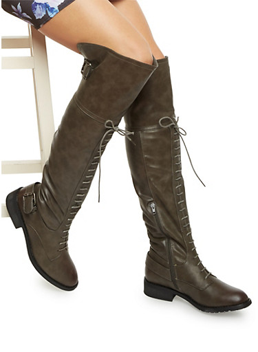Over the Knee Boots with Lace Up Front,GRAY,large