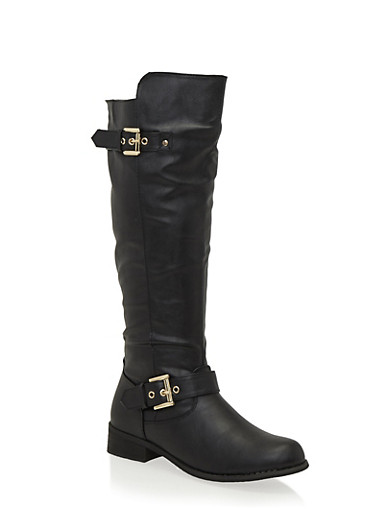 Knee High Boots with Side Metallic Accents,BLACK,large