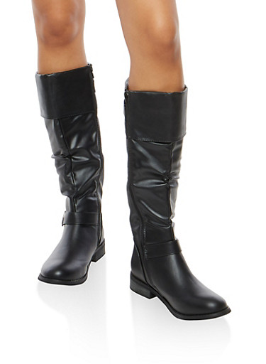 Double Buckle Flat Riding Boots,BLACK,large