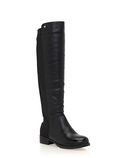 Knee High Boots with Elastic Paneling,BLACK,large