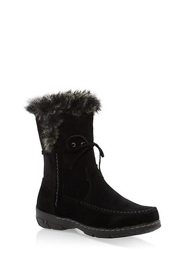 Faux Fur Trim Moccasin Boots,BLACK,large