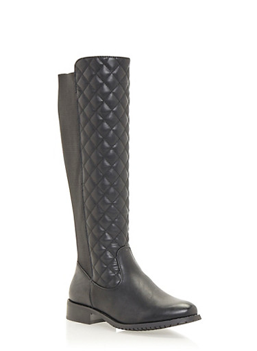 Knee High Boots in Quilted Faux Leather,BLACK,large