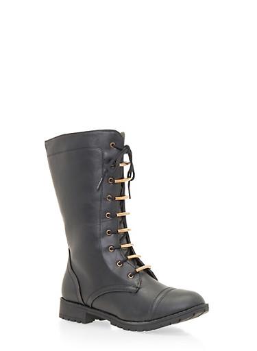 Lace Up Flat Boots,BLACK,large