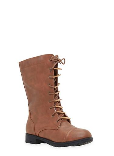 Lace Up Flat Boots,COGNAC,large