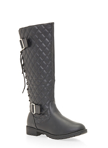 Lace Up Biker Boots with Quilted Panel,BLACK,large