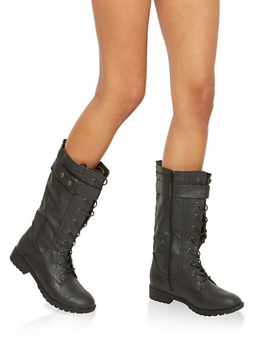 Faux Leather Tall Combat Boots with Strap Detail,BLACK,large