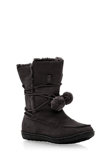 Shearling Lined Boots with Pom Pom Tie,BLACK,large