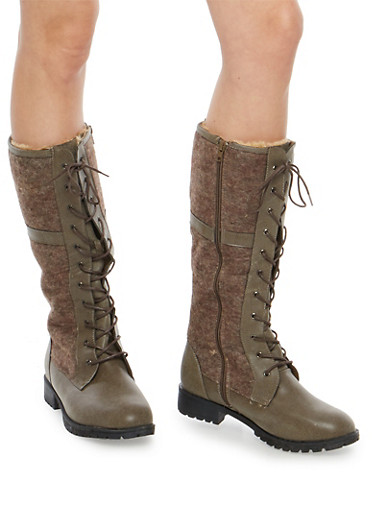 Tall Faux Fur Lined Lace Up Boots,TAUPE,large