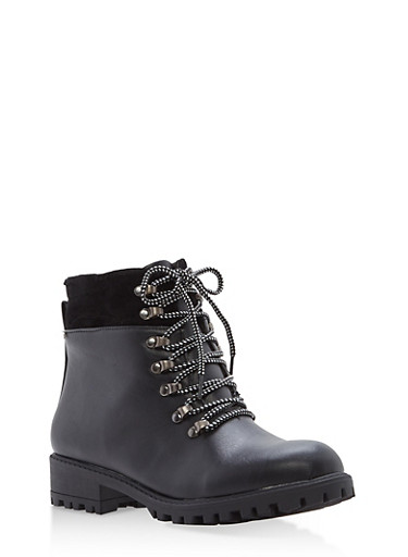 Faux Leather Lace Up Booties,BLACK,large