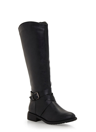 Knee High Boots with Buckle,BLACK,large