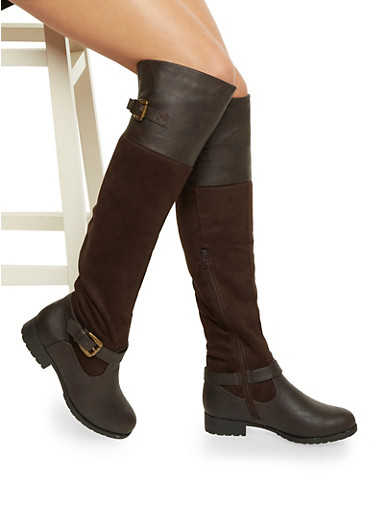 Over the Knee Riding Boots with Buckles,DARK BROWN,large
