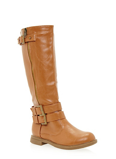Knee High Boots with Buckle Accents,COGNAC,large