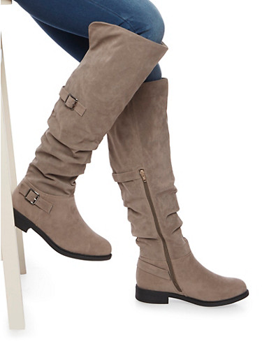 Over The Knee Boots with Side Buckle Accents,TAUPE F/S,large