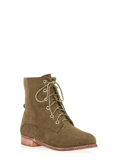 Lace Up Flat Bootie in Brushed Suede,OLIVE,large