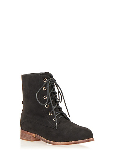 Lace Up Flat Bootie in Brushed Suede,BLACK F/S,large