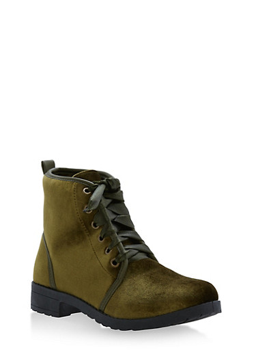 Ribbon Lace Up Booties,OLIVE,large