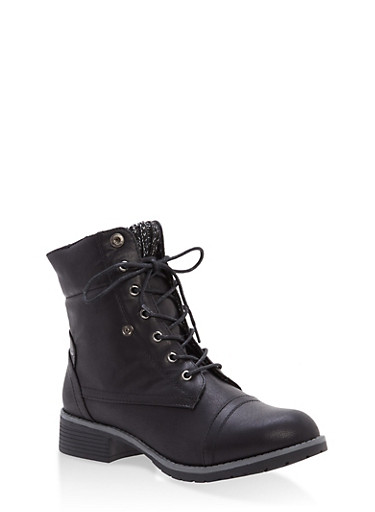 Sweater Cuff Lace Up Boots,BLACK,large
