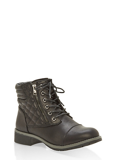 Quilted Detail Lace Up Ankle Boots,BLACK,large