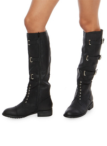 Tall Lace Up Riding Boots with Buckle Detail,BLACK,large