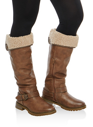 Sherpa Lined Faux Leather Buckle Boots,BROWN,large