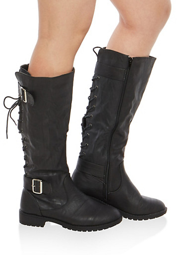 Faux Leather Lace Up Back Tall Boots,BLACK,large