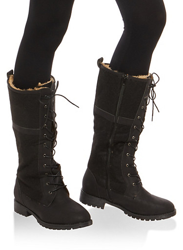 Faux Fur Lined Tall Lace Up Combat Boots,BLACK/BLACK,large