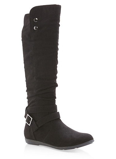 Faux Suede Buckle Tall Boots,BLACK F/S,large