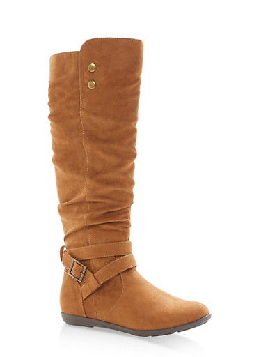 Faux Suede Buckle Tall Boots,COGNAC F/S,large