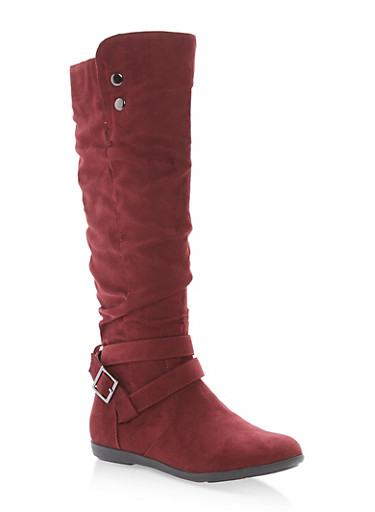 Faux Suede Buckle Tall Boots,BURGUNDY F/S,large