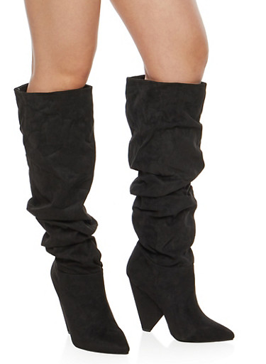 Slouchy Cone Heel Boots,BLACK F/S,large