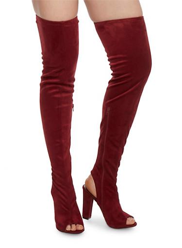 Peep Toe Thigh High Block Heel Boots,BURGUNDY,large