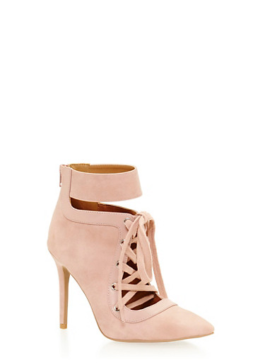 Lace Up Pointy Toe Pumps with Stiletto Heels,BLUSH,large